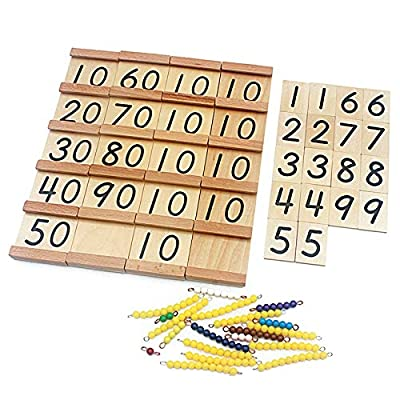 Danni Math Toys Montessori Wood Seguin Teens and Tens Boards Color Beads Bar Toy for Children Early Childhood Preschool Training: Toys & Games