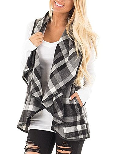 Leggings Wool Plaid (Womens Casual Lapel Open Front Sleeveless Plaid Vest Cardigan Coat with Pocket Outwear Size M)
