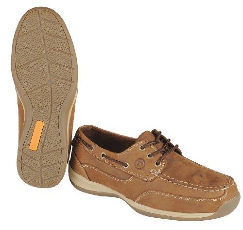 Rockport Fungerar 3h Mens Båt Skor, Stål Tå Typ, Läder Övre Material, Brun, Storlek 8-1 / 2w - 1 Vardera
