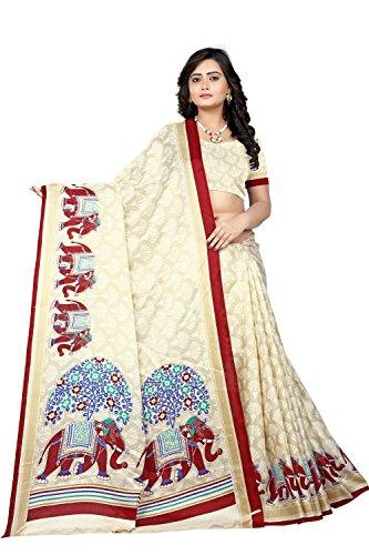 Jaanvi fashion Khadi Silk Elephant Motifs Kalamkari Printed Saree (#MeToo-Red)