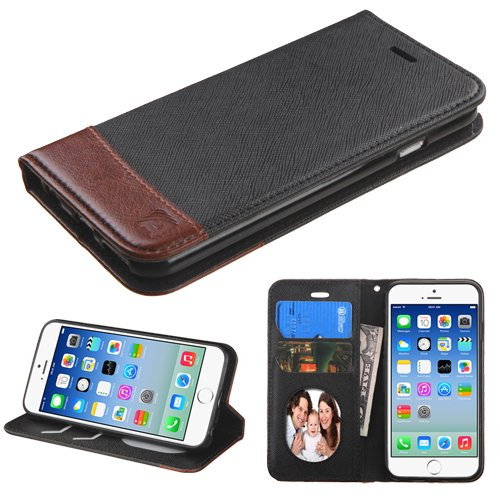 HD Accessory Premium Leather Wallet Book Case for iPhone 6 / 6S - Black Brown