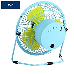Kupx 6inch Battery Operated Portable Fan Usb Desk Mini Fan with Usb Power Bank Charger 5600mah (usb output blue)