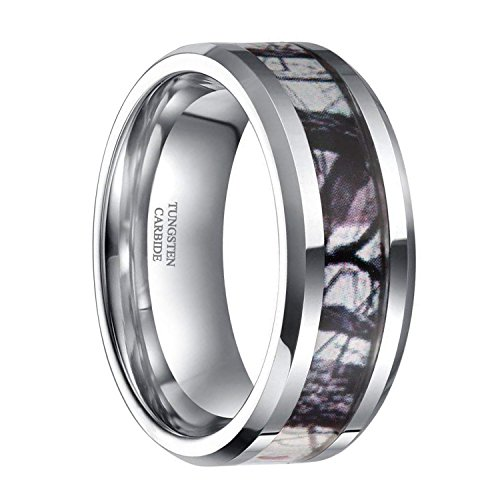 6mm 8mm Tungsten Winter Branch Camouflage Inlay Hunting Ring Camo Wedding Engagement Band Comfort Fit