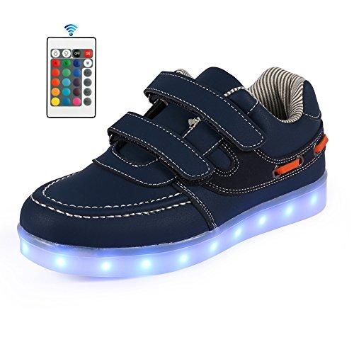 Price comparison product image AFFINEST Boys Girls Light Up Shoes 11 Color LED Flashing USB Charging Sneakers (Toddler/Little Kids/Big Kids),32,Blue