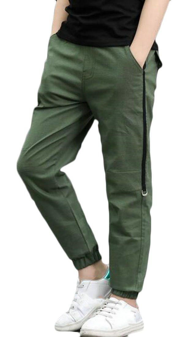 Wofupowga Boy Sports Summer Ankle Length Thin Casual Jogger Pants Pants Army Green 4