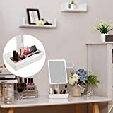 SONGMICS-Large-LED-Lighted-Makeup-Mirror-with-Small-10x-Magnification-Vanity-Mirror-Auto-off-Dimmable-Light-and-Dual-Power-Adjustable-Stand-with-Cosmetic-Organizer-White-UBBM10W