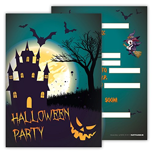 Spooky Halloween Party Invitations Pack of 12 Cards for Boys Girls Kids Birthday Superheroes Hero Emoji Postcard Invitations Greetings fill-in Set (Halloween Party Invite Printable)