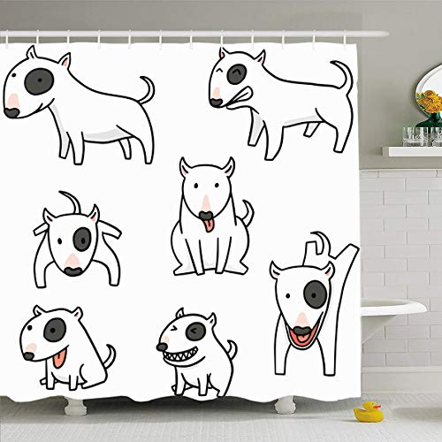 Ahawoso Shower Curtain 72x72 Inches Pencil Dog Bull Terrier Character Comic Sketch Doodle Cute Line Design Jump Waterproof Polyester Fabric Set with Hooks