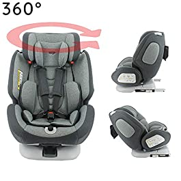 migo ONE 360° swivel car seat group 0+/1/2/3 (0-36kg) – Back to the road 0-18kg – Comfort cover – Side protection (Grey)