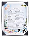 25pcs, Single Panel Menu Covers for 8.5x11 Sheets, Hardcover Design, Restaurant Menu Presenter with Photo Album-style Corners, Black, Synthetic Leather - 9'' x 11.5'' x 0.25''