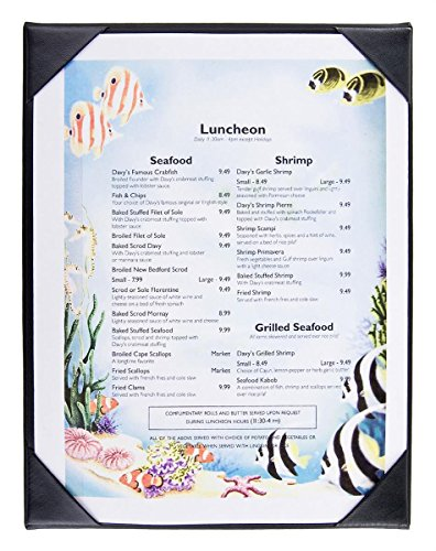 25pcs, Single Panel Menu Covers for 8.5x11 Sheets, Hardcover Design, Restaurant Menu Presenter with Photo Album-style Corners, Black, Synthetic Leather - 9'' x 11.5'' x 0.25'' by Displays2go
