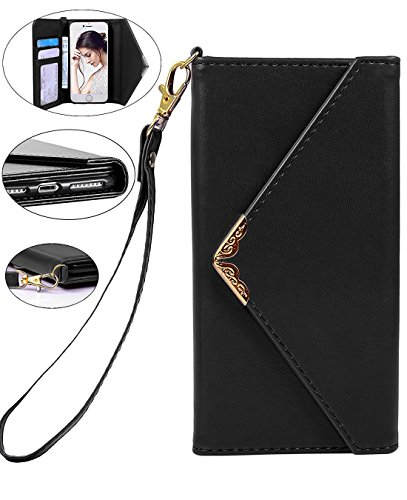 iPhone 8 Case, iPhone 7 Wallet Case, Crosspace Envelope Flip Handbag Shell Women Wallet PU Leather Slim Holster Magnetic Folio Cover with Card Holder Wrist Strap for Apple iPhone 8 iPhone 7 4.7-Black