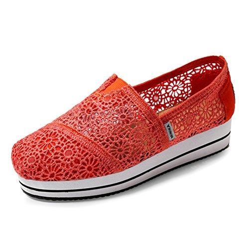 Chaussures De Mode Des Femmes Se Réveiller Dentelle Slip Plat Sur Respirant Épaisse Croûte Chaussures De Tennis Par Btrada Orange