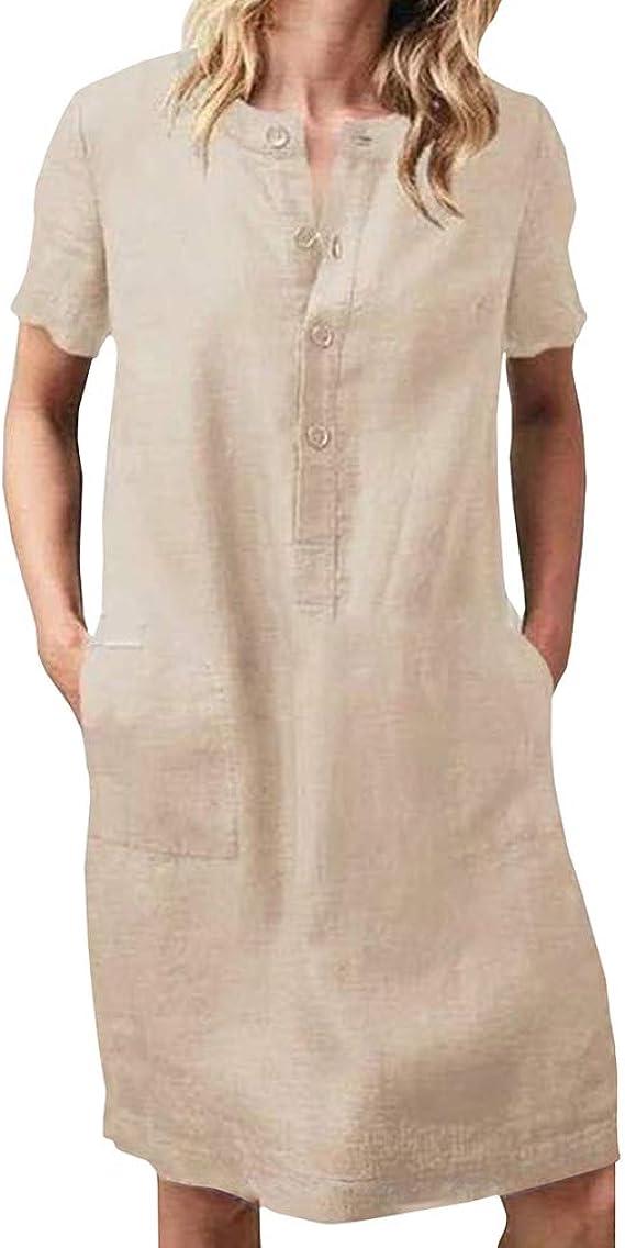 Mujer Vestido de Lino de Algodón Suelto Casual Vestido con Botones Cuello En V Manga Corta Vestido de Camiseta Verano Vestido de Playa sobre Tamaño Vestido de Midi Longitud de la Rodilla: