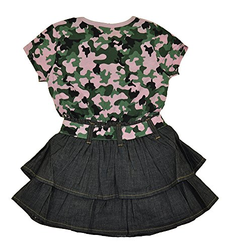 Sweet Vintage Little Girls S/S Pink & Green Camouflage Tier Ruffled Chambray Dress (4)