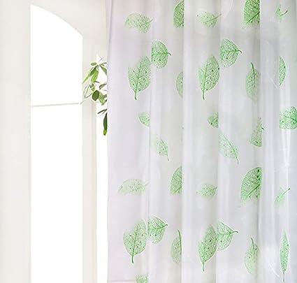 Wimaha Green Shower Curtain Leaves Liner Plastic Waterproof Bathroom Mildew Resistant
