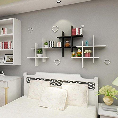 Asatr 4 Pieces Shelving Solution Cross Display Wall Mounted Wall Shelf Set, Black