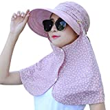 Lanzom Womens Wide Brim Summer Sun Flap Hat Neck Cover Cap UPF 50+ (Pink)