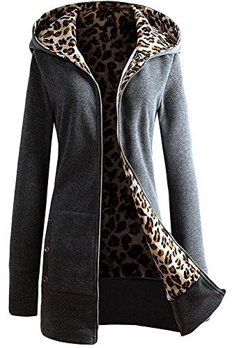 Leopardo Cierre Varios Minetom Capucha Otoño Invierno Chaqueta colores Mujer Cremallera Hoodie Con Abrigos qWzYwpU