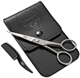 Beard and Mustache Scissors w/Comb and Synthetic Leather Case Professional Sharp Surgical Grade Steel for Trimming, Grooming, Cutting Mustache, Beards & Eyebrows Hair