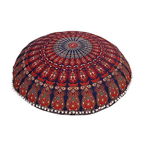 Truesellershop Large Hippie Mandala Floor Pillow Cover - Cushion Cover - Pouf Cover Round Bohemian Yoga Decor Floor Cushion Case- 32