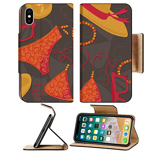 Liili Premium Apple iPhone X Flip Pu Leather Wallet Case ID: 25665160 bikini hut sunglasses bracelets flip flops summer outfit illustration elements on dark background - Sunglass Hut China
