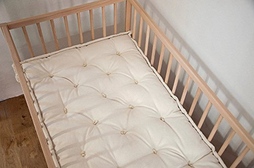 Home of Wool / Wool-Filled Crib Mattress / Natural Color / Cotton, Linen or Wool Cover / Oeko-Tex Certified Wool / Non-toxic Natural Nursery Bedding / Made-to-Order / Custom Sizes and Shapes Available by Home Of Wool