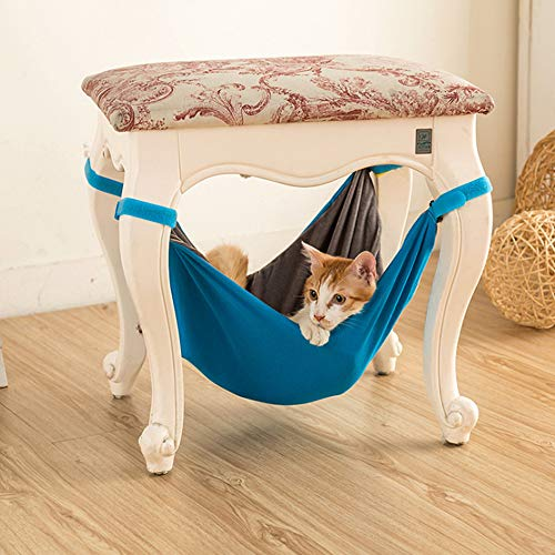 XinGiao Cat Cage Hammock Pet Cage Hammock Hanging Soft Under Chair Easy to Attach to a Cage Comfortable for Small Pets Kitten Ferret Puppy Rabbit or Other Small Pet Blue
