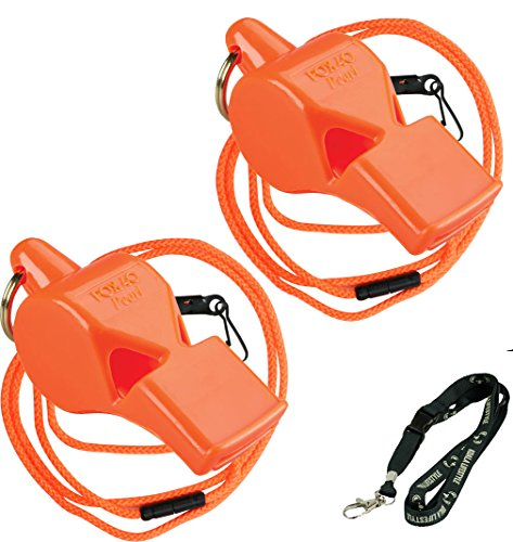 Fox 40 Pearl Safety Whistle Outdoor Survival Marine with Breakaway Lanyard (2x) Bundle with Koala Safety Lanyard - Orange