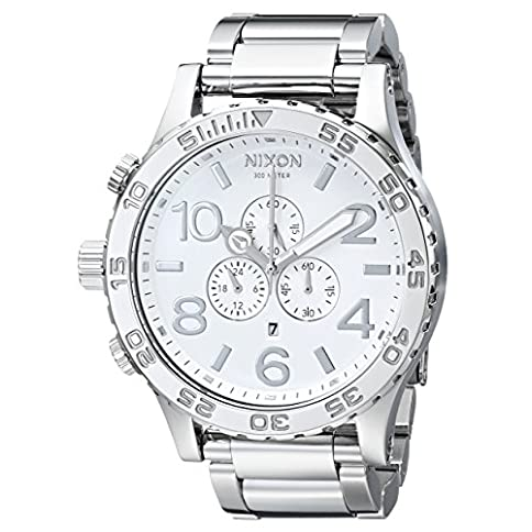- 51 2BEOtDCCgL - NIXON 51-30 Chrono A090 – High Polish/White – 307M Water Resistant Men's Analog Fashion Watch (51mm Watch Face, 25mm Stainless Steel Band)