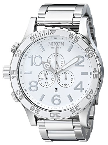 NIXON 51-30 Chrono A090 - High Polish/White - 307M Water Resistant Men's Analog Fashion Watch (51mm Watch Face, 25mm Stainless Steel Band) (Nixon 51 30 Chrono High Polish White)