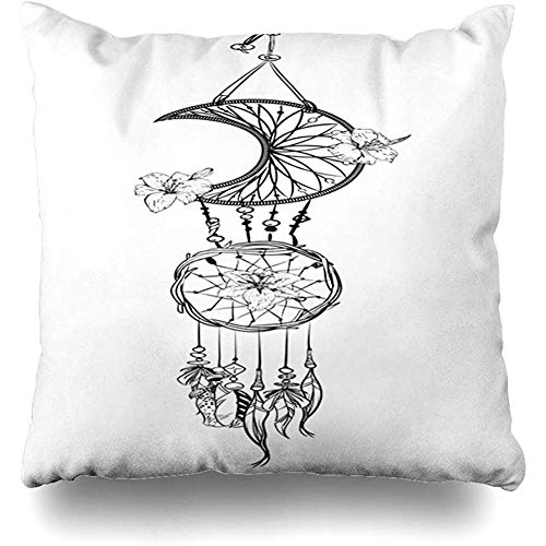 (Throw Pillow Cover Fantasy Amulet Monochrome Dream Catcher Ornate Ethnic Feathers Beads Flowers Nature American Aztec Pillowcase Square Cute 18 x 18 Inches Zippered Home Decor Cushion Case)