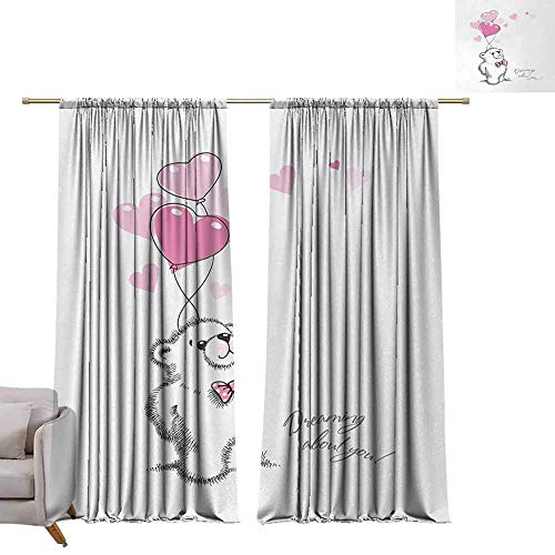berrly Tie Up Window Drapes Living Room Bear,Sweet Little Teddy Bear Keeping Pink Heart Shaped Balloons Romantic Quote,Pale Pink Black White W84 x L108 Pocket Thermal Insulated Tie Up Curtains