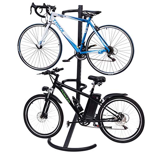 Goplus Gravity Freestanding Bike Stand Adjustable Height Two-Bike Storage Rack Heavy Duty for Bicycle Parking with 100lbs Weight ()