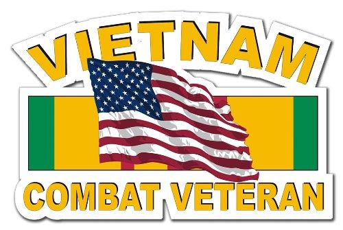 (Military Vet Shop US Army Vietnam Combat Veteran American Flag Ribbon Window Bumper Sticker Decal 3.8