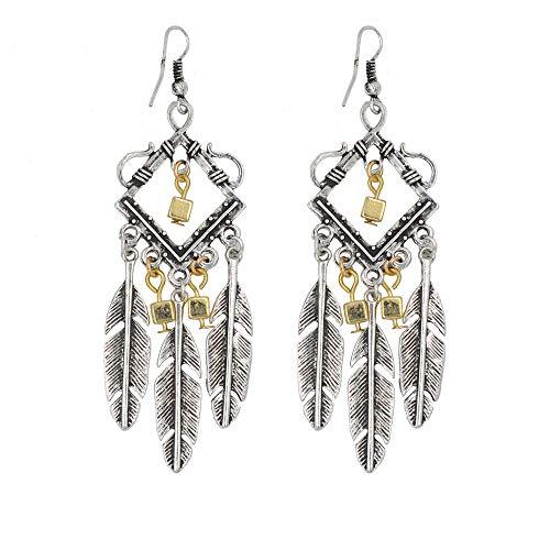 Vintage Feather Hollow Ear Hook Luxury Ear Pendants Charming Ladies Earbob Fashionable Women Jewelry Girl Gift