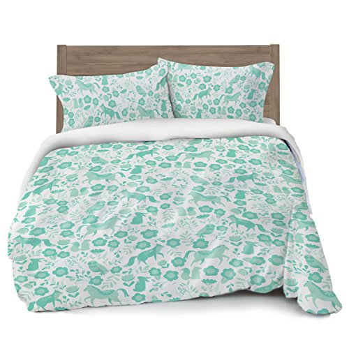 (Where The Polka Dots Roam Seafoam Green Folktale Forest Animals Duvet Cover Full/Queen Bedding, White with Teal Woodland Creatures)