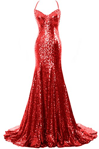 MACloth Women Mermaid Sequin Prom Gown Sexy V Neck Wedding Party Formal Gown Rot XBwzyDEZ