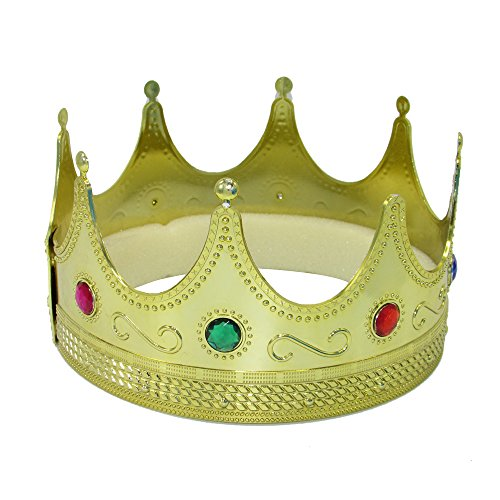 (Gold Crown Royal Jeweled King & Queen Crown, Costume Accessory Regal Majestic Dress Up Hat - 2 Pack - One Size Fits)