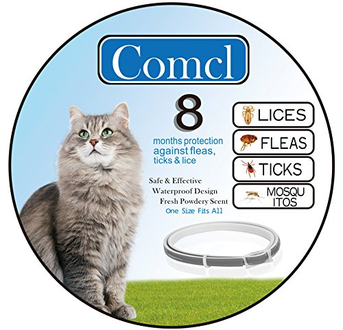 "Comcl Flea and Tick Prevention for Cats Collar - Water Resistant Hypoallergenic Flea Treatment Tick Control Collar for Cat - 25""Adjustable 8 Months Protection"