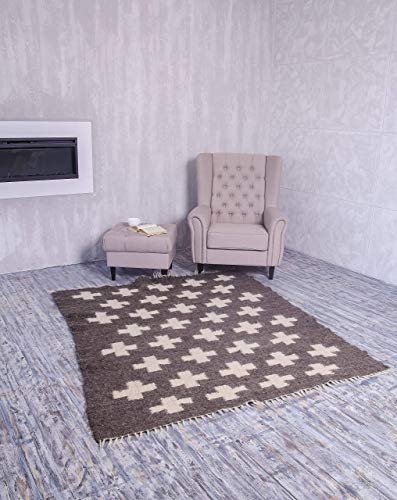 Dark Grey Wool Rug Large/Small With White Swiss Crosses Living Room Centerpiece Geometric Pattern Handmade Area Rug Home Decor Many Sizes!