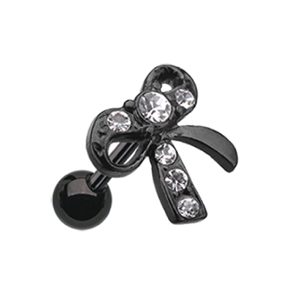 Sold Individually Blackline Lacy Bow-Tie Colorline Steel Freedom Fashion Tragus Earring