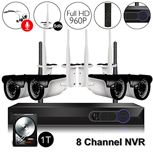CAMVIEW Wireless Security Home Surveillance System Expandable 8CH 960P WiFi NVR + 4Pcs 1.3MP 960P Wireless IP CCTV Cameras, Audio-in Plug, 65FT Night Vision, Waterproof, 1TB HDD Pre-installed