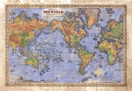 Amazon.com: Great River Arts Colton World Map 1856 Map Wall Art ...