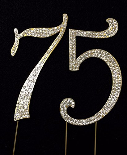 GOLD Rhinestone Crystal Covered 75th 75 Anniversary Birth...