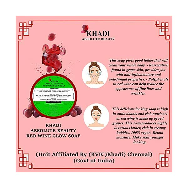 Khadi Absolute Beauty Red Wine Beauty Bath Soap, 100g Each (Pack of 4) 2021 July Cleanses and purifies skin by pulling out oil, dirt and impurities Make skin younger looking, polyphenols in red wine can help reduce the appearance of fine lines and wrinkles It slough away dead skin cells and remove blackheads and whiteheads, giving skin a natural and healthy glow