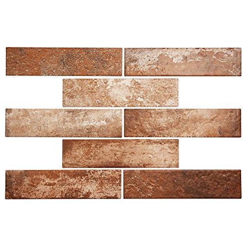 Broadway Brick Red Rustic Porcelain Subway Tile for Kitchen Backsplash, Wall, Shower - 2.5