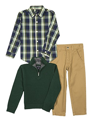 Price comparison product image Nautica Baby Boys' Quarter Zip Sweater,  Long Sleeve Shirt and Twill Pant Set,  Dark Green,  18 Months