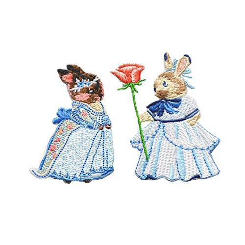 (1pair Rabbit Animal Embroidery Patches Clothing Decoration Iron On Sew On Appliques (Set b))