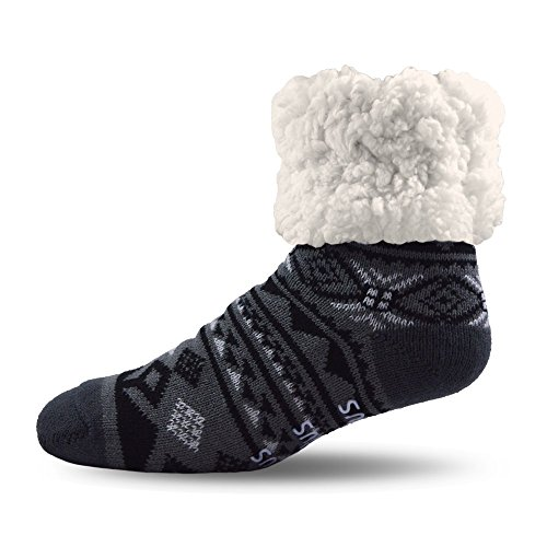 (Pudus Classic Slipper Socks, Adult Geometric Black, One Size )